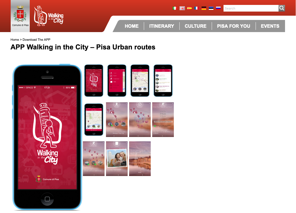 APP Walking in the City – Pisa Urban routes
